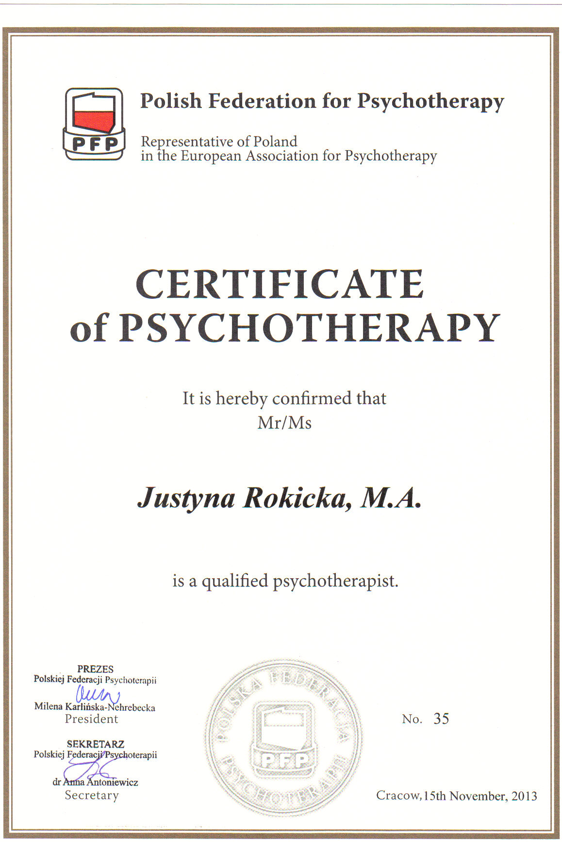 The European Certificate of Psychotherapy